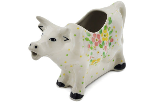 Polish Pottery Cow Shaped Creamer 5 oz Peaceful Periwinkle Theme UNIKAT
