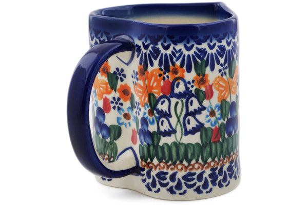 Heart Mug Double White Flower Theme UNIKAT