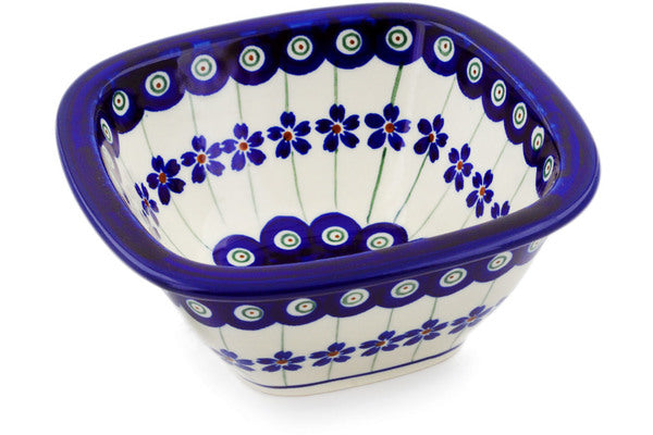 "Square Bowl 5"" Flowering Peacock Theme"