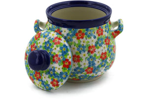 "Jar with Lid and Handles 7"" Colorful Dizziness Theme UNIKAT"