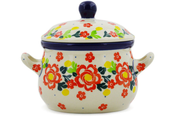 Bouillon Cup with Lid 12 oz Floral Puzzles Theme UNIKAT