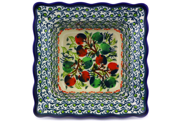 "Square Bowl 7"" Red And Green Berries Theme"