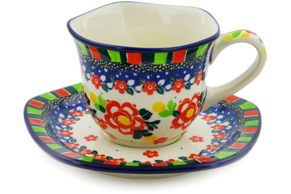 Cup with Saucer 8 oz Floral Puzzles Theme UNIKAT