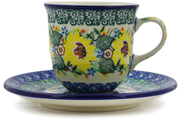 Cup with Saucer 7 oz Yellow Garden Theme UNIKAT