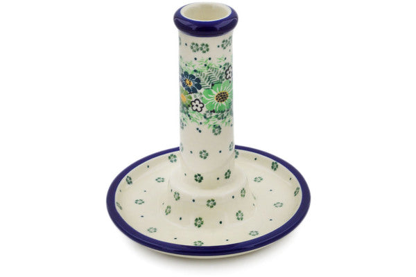"Candle Holder 6"" Green Wreath Theme UNIKAT"