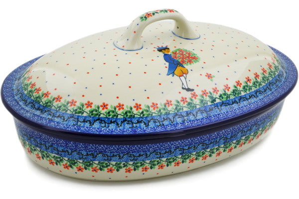 Polish Pottery Baker with Cover 14