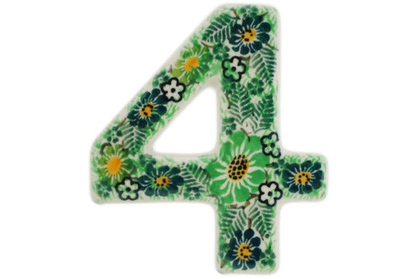 House Number FOUR (4) 4-inch Green Wreath Theme UNIKAT