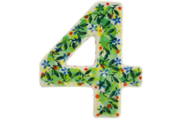 House Number FOUR (4) 4-inch Yellow Garden Theme UNIKAT