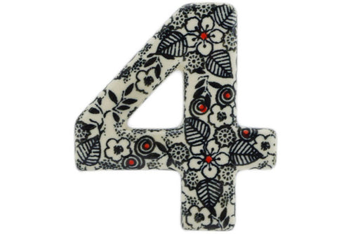 House Number FOUR (4) 4-inch Classic Black And White Theme UNIKAT