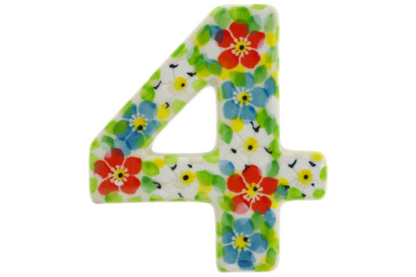 House Number FOUR (4) 4-inch Colorful Dizziness Theme UNIKAT