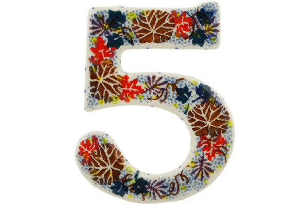 House Number FIVE (Five) 4-inch Autumn Falling Leaves Theme UNIKAT