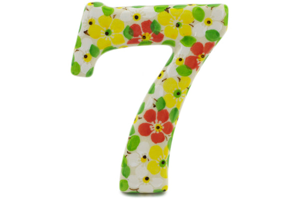 House Number SEVEN (7) 4-inch Fertile Meadow Theme UNIKAT