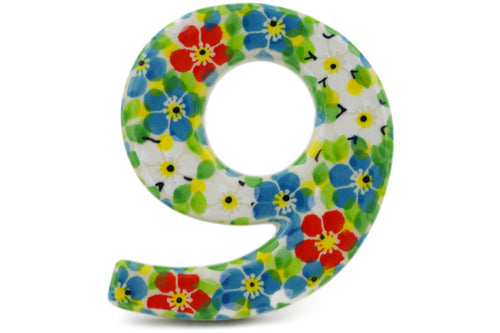 House Number NINE (9) 4-inch Colorful Dizziness Theme UNIKAT
