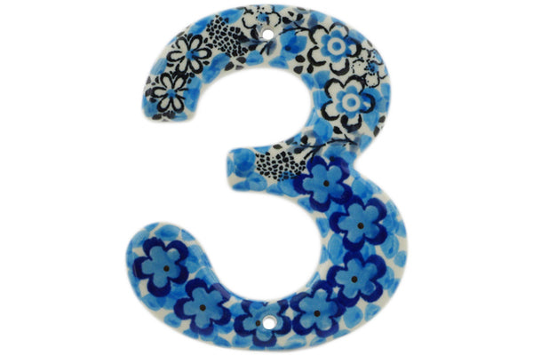 Hanging Number THREE (3) 4-inch Out Of Blue Theme UNIKAT