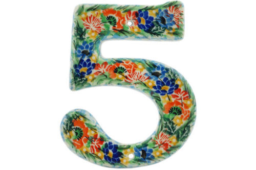 House Number FIVE (Five) 4-inch tall Dream Bouquet Theme UNIKAT