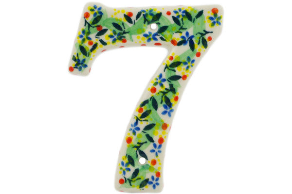 House Number SEVEN (7) 4-inch Yellow Garden Theme UNIKAT