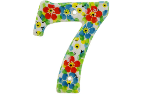 House Number SEVEN (7) 4-inch Colorful Dizziness Theme UNIKAT