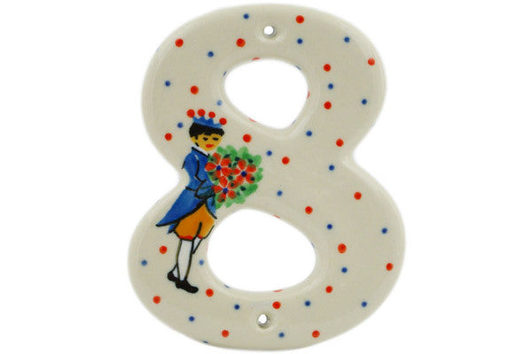 House Number EIGHT (8) 4-inch Charming Prince Theme UNIKAT