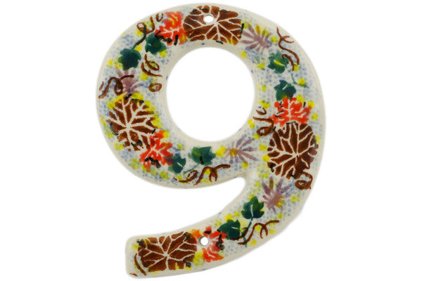 House Number NINE (9) 4-inch Autumn Falling Leaves Theme UNIKAT