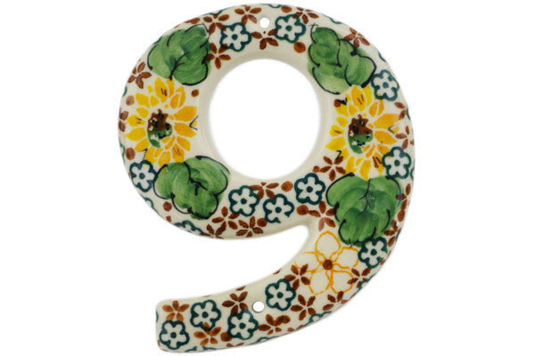 House Number NINE (9) 4-inch Country Sunflower Theme UNIKAT