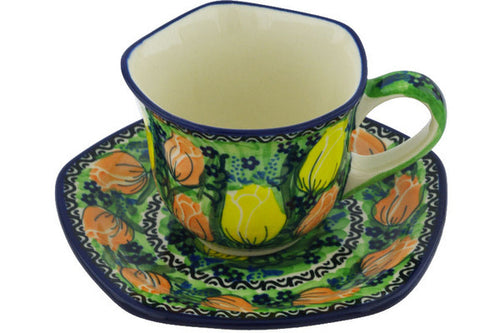 Cup with Saucer 8 oz Easter Rose Theme UNIKAT