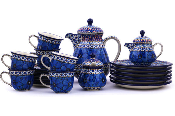 Tea or Coffee Set for Six 51 oz Cobalt Poppies Theme UNIKAT