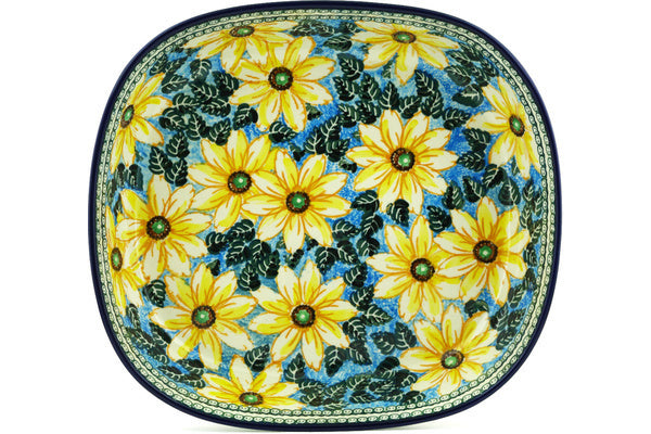 "Bowl 14"" Black Eyed Susan Theme UNIKAT"