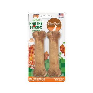 Nylabone® Healthy Edibles® Bacon Flavor Long Lasting Chews Dog Treats Wolf Up to 35 Lbs X 2 Count