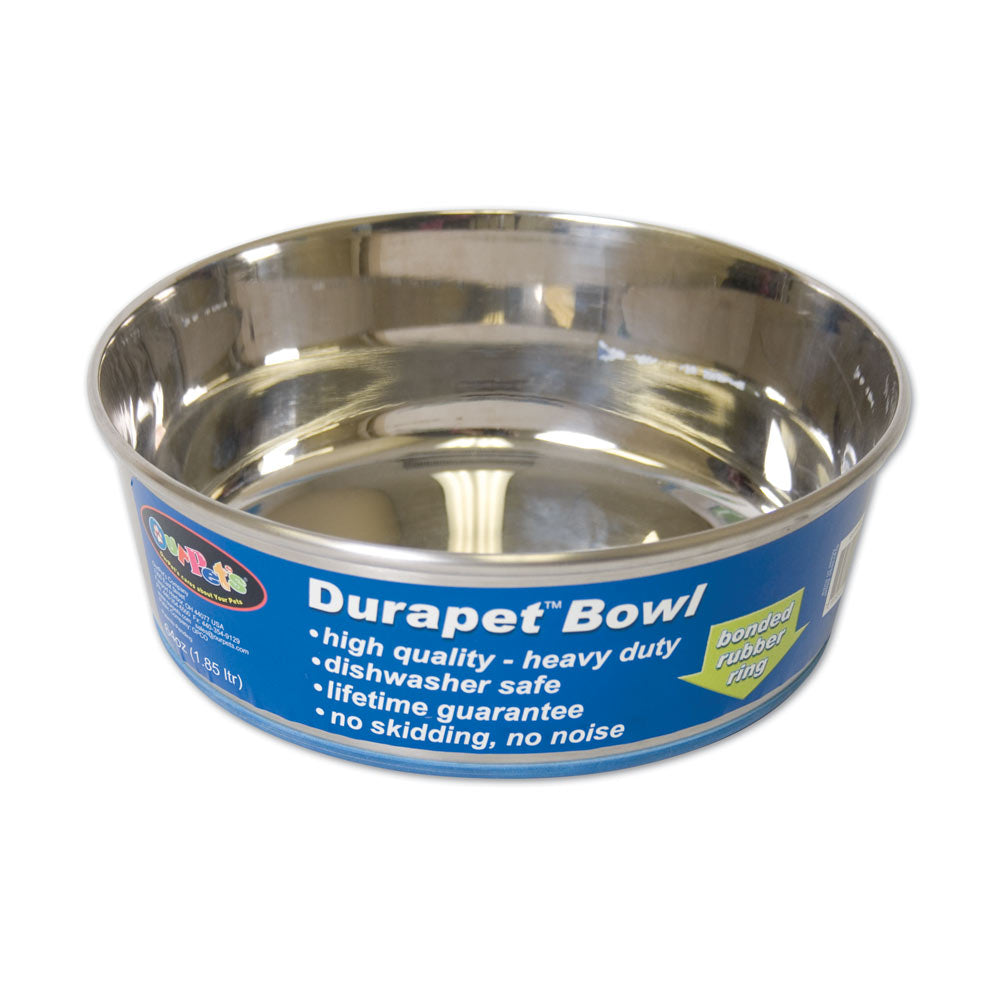 OurPets® Premium Rubber-Bonded Stainless Steel Bowl for Dog 3 Quartz