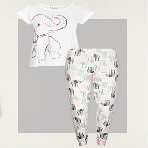 Avon Apparel Ladies 14/16 / White/Green/Pink Ladies Pyjama Set - Nellie Elephant - Sizes: 14 - 24