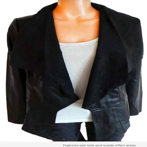 Avon Apparel Women's Faux-Leather Waterfall Jacket Size 16/18