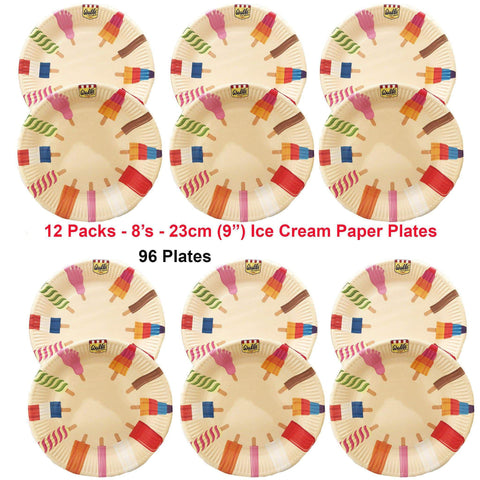 "Talking Tables Party 96 x Kids Party Wall's Ice Cream Plates 23 cm (9"") Disposable: 12 Packs of 8's"