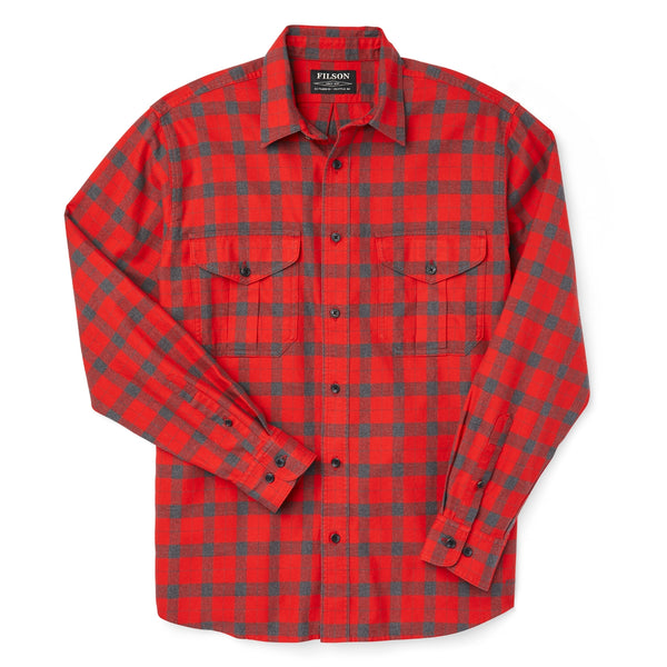 Filson Lightweight Alaskan Guide Shirt Red/Charcoal Plaid Hemd - FASANIS