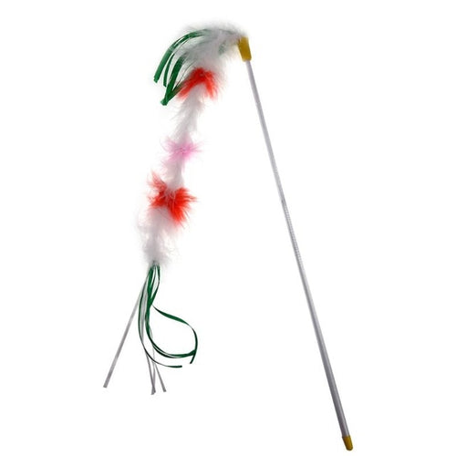 Long Multicolored Feather Wand Toy