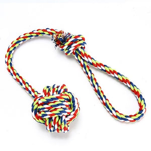 Rainbow Tug-of-War Knotted Rope Ball