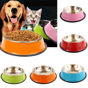 Plain Colored Stainless Steel Pet Bowl