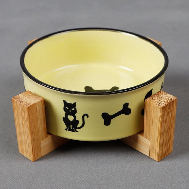 Ceramic Bowl With Wood Base