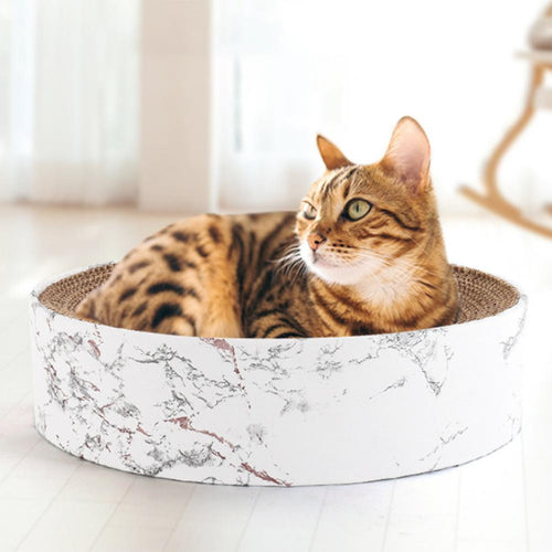 Large Marble Print Round Pet Bed With Cardboard