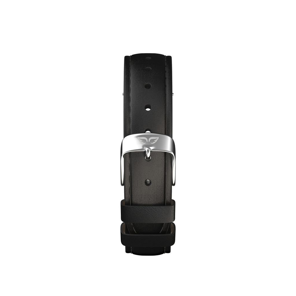 Silver-Classic Black Leather Band