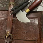 Hand crafted norse leatherwork on northern fire