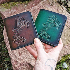 Leather Wallet, hand pressed pictish beastie
