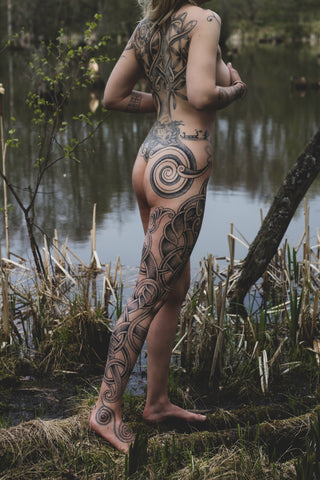 Asta (Thursarn) image of Maria's full body of hand poked tattoos by Colin Dale