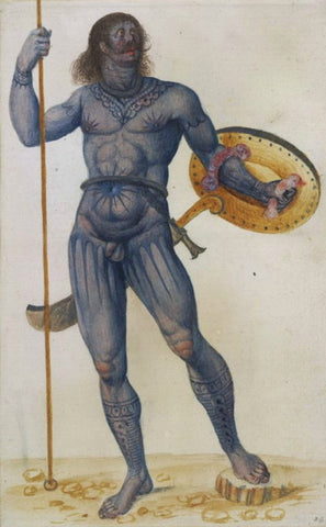 John White, Pict warrior'; nude with stained and painted body, with shield, curved sword and spear, The British Museum, London, UK