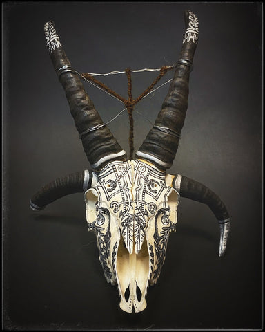 Four Horned Sheep Skull decorated by Habba Nero with Icelandic Staves, runes, and Swedish black magic iconography
