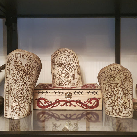 Carved Whale Bones and Red Urnes Style Box
