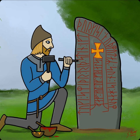 Toki, formerly enslaved viking, carving a runestone in gratitude to his former slave owner.