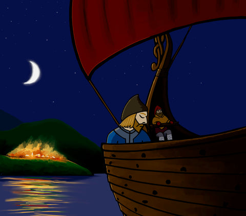 Toki on a boat being taken captive by slavers from his burning Viking village