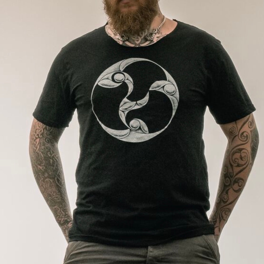 100% Organic cotton screen printed tee with celtic symbol from Anglesey, Wales. Designed by Sacred Knot Tattoo for Northern Fire Designs. Large sizes available