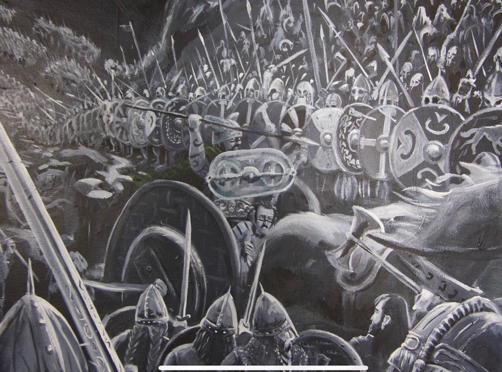King Arthur, fantasy art, history, battle scene, original painting by Sean Parry of Sacred Knot Tattoo celtic art