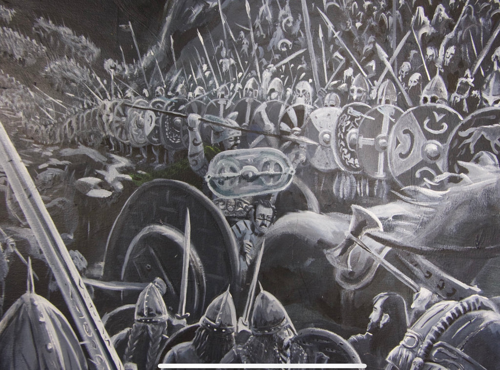 King Arthur, fantasy art, history, battle scene, original painting by Sean Parry of Sacred Knot Tattoo
